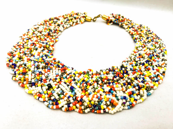 White and Multicolor Braided Necklace
