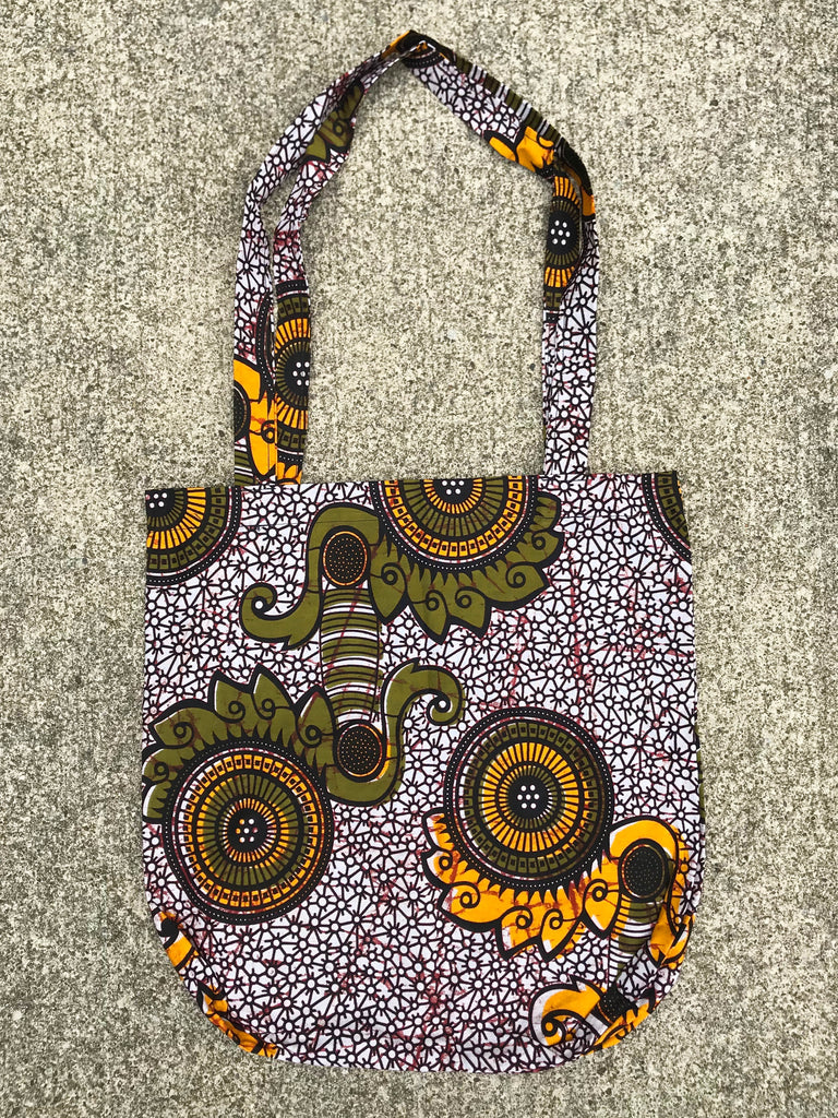 Olive Green and Yellow Kitenge Shoulder Bag