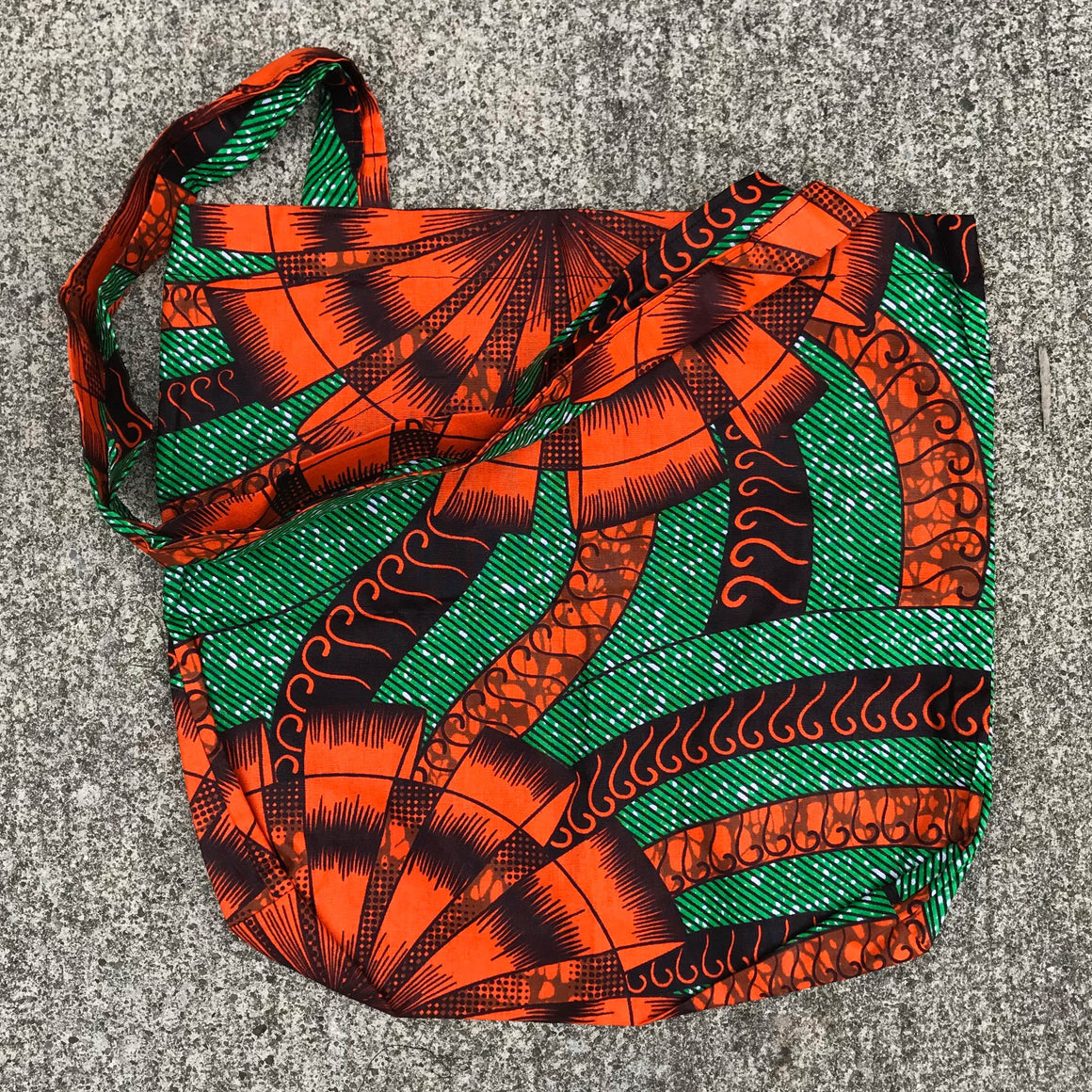 Green and Red Kitenge Shoulder Bag
