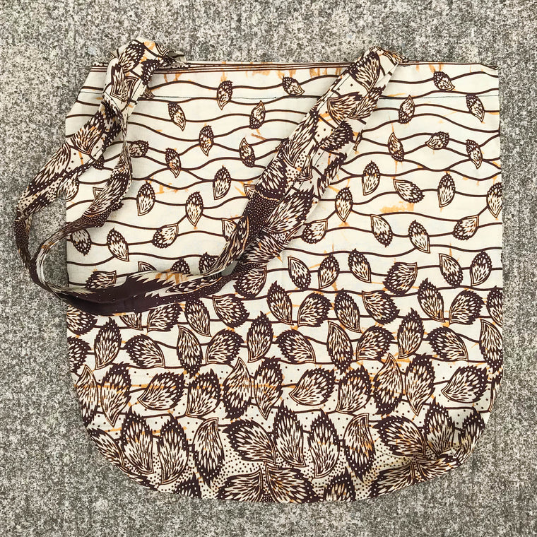 Brown Leaves Kitenge Shoulder Bag