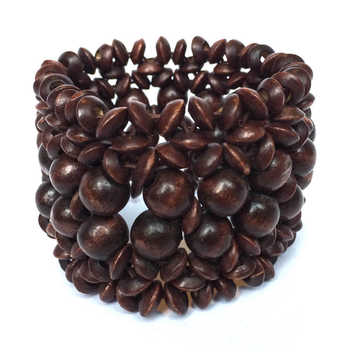Brown Wooden Stretch Cuff Bracelet