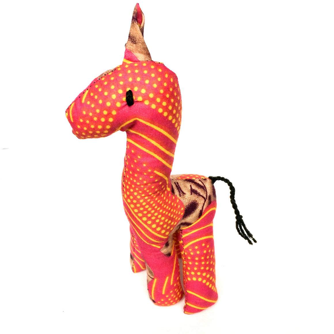 Pink Striped and Dotted Kitenge Giraffe