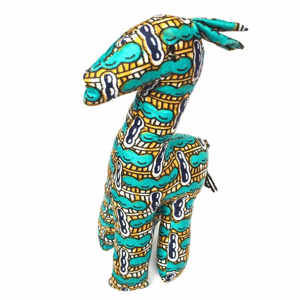 Gold and Turquoise Kitenge Giraffe