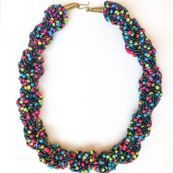 Green, Purple, Blue, Pink Twist Necklace
