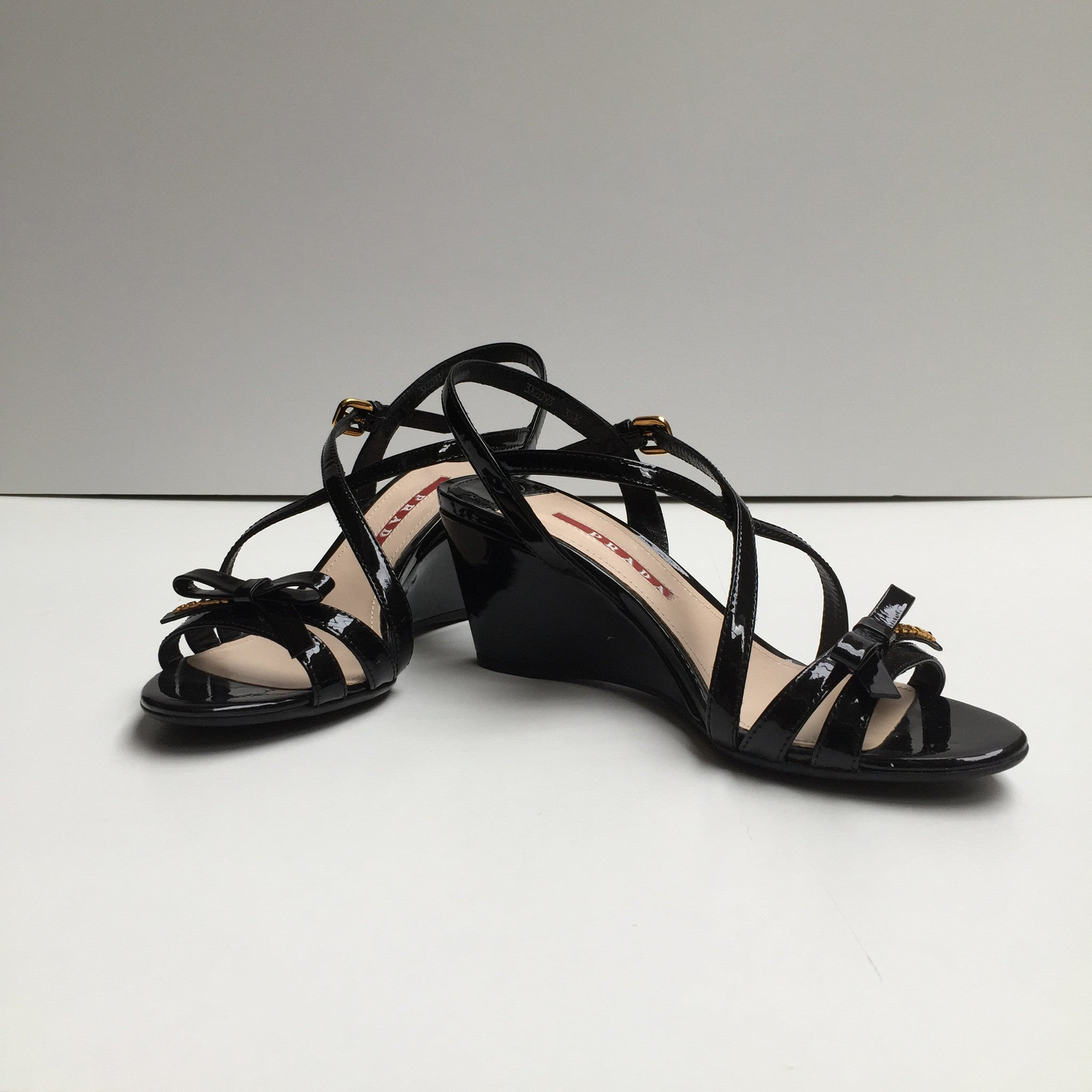 Prada Black Leather Wedge Sandals