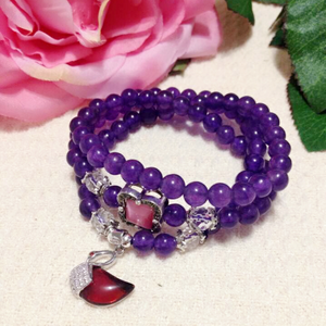 Purple Chalcedony Bracelet (Necklace)