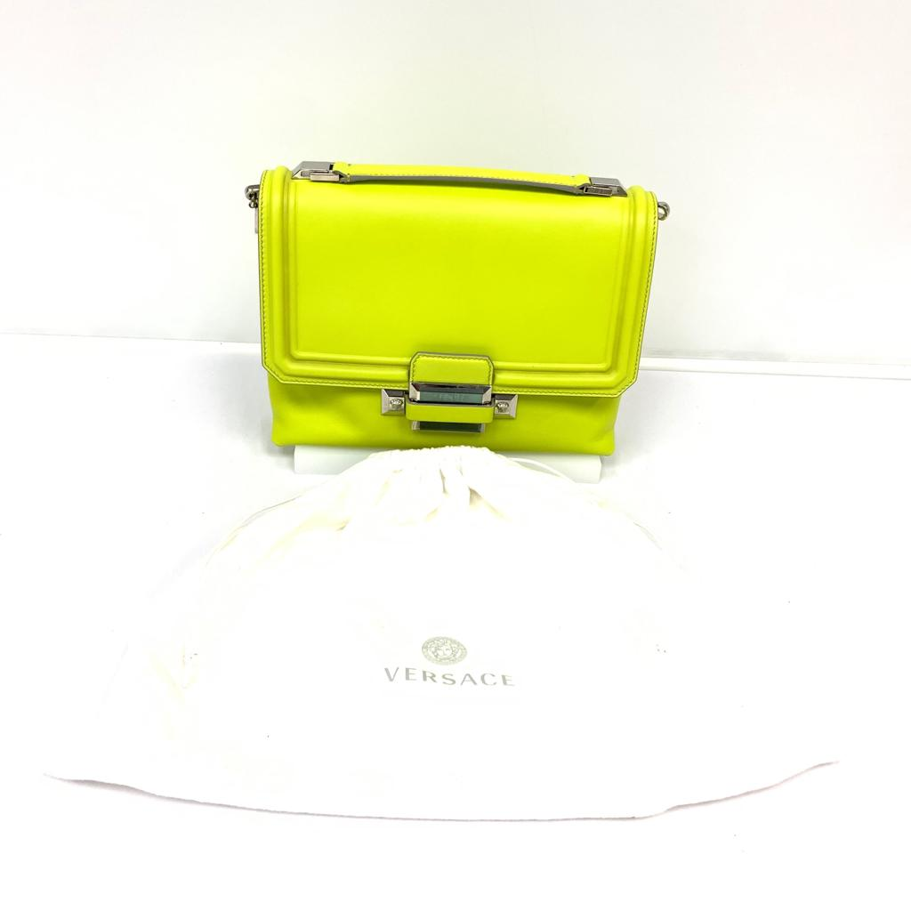 Versace Neon Yellow Borsa Vitello Handbag
