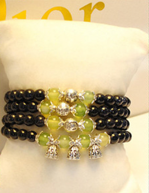 Blue Sandstone and Prehnite Bracelet (Doubled as Necklace)