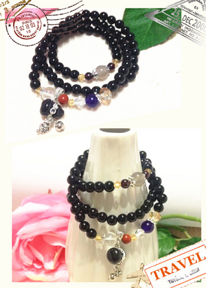 Black Agate Bracelet (Doubled as Necklace)