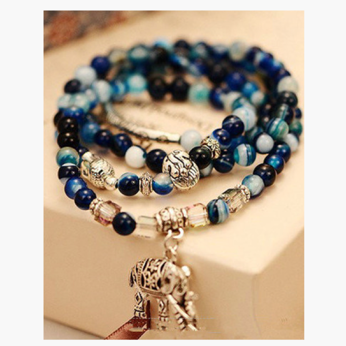 Blue Agate Bracelet (Doubled as Necklace)