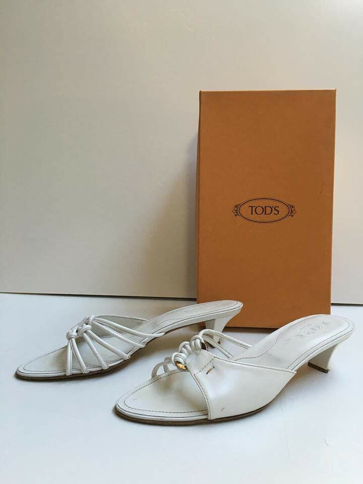 TOD'S White Leather Heels