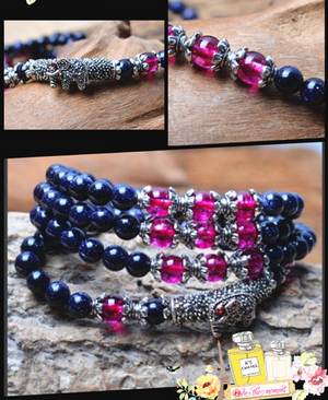 Blue Sandstone Bracelet (Doubled as Necklace)