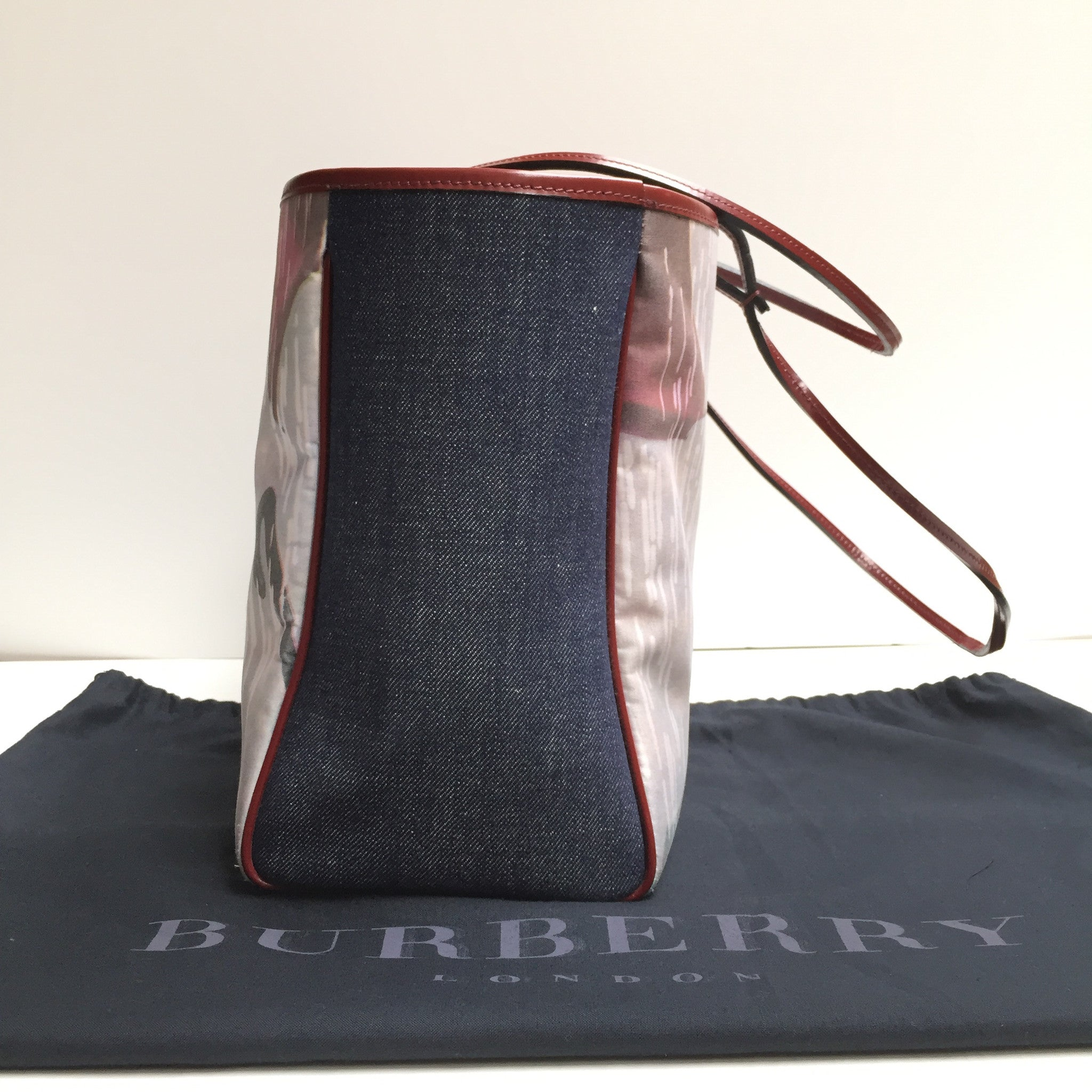 Burberry Denim and Umbrella Print Tote