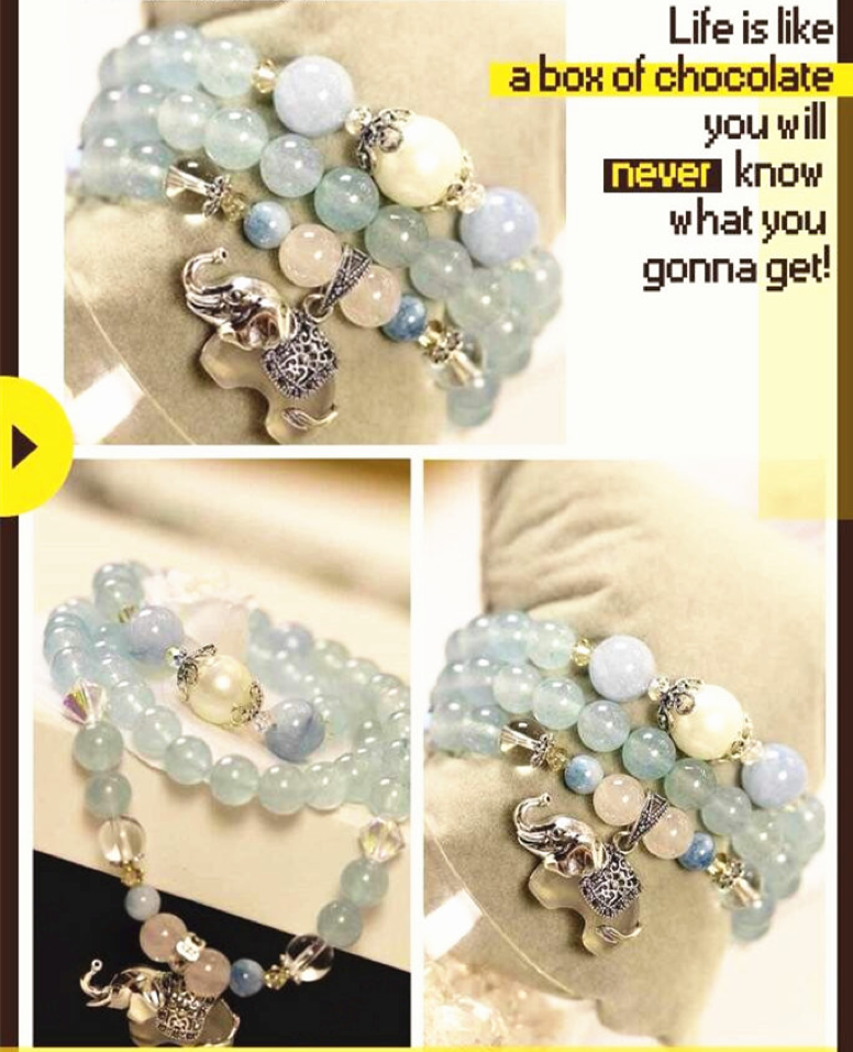 Sea Blue Chalcedony Bracelet (Doubled as Necklace)