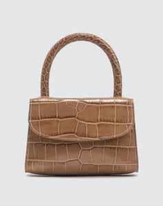 BY FAR - Women's Brown Mini Croc Embossed Leather Bag