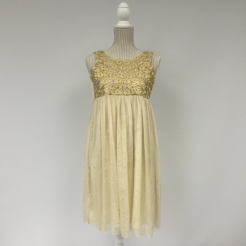 Kingkow Gold Ruffle Dress
