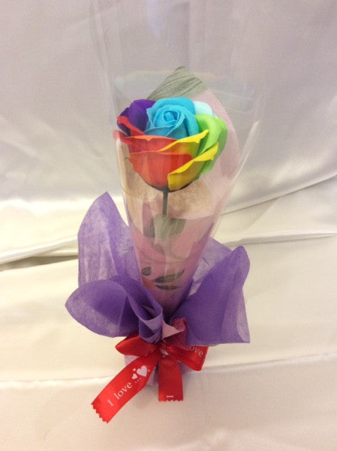 Rainbow Rose Soap Flower