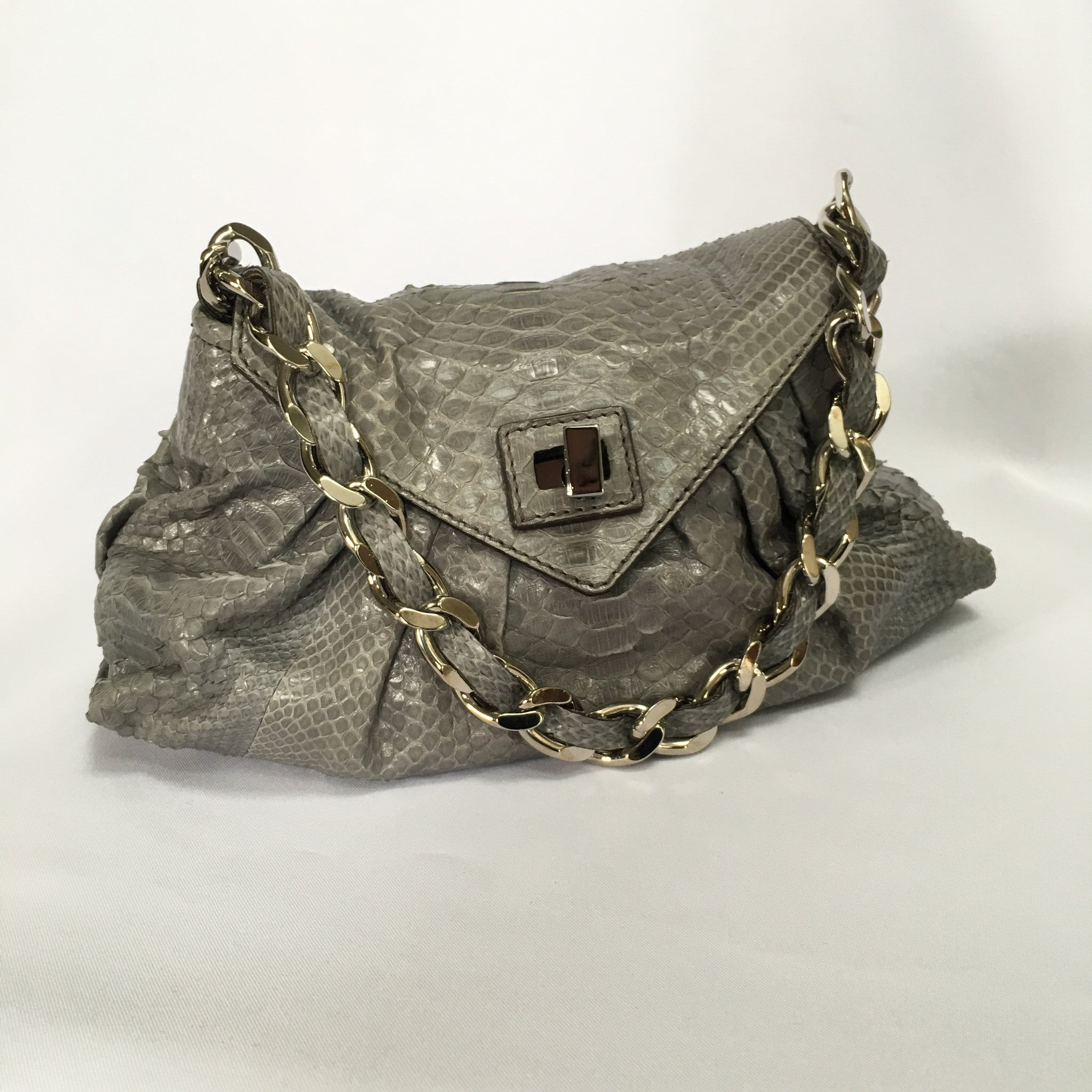 ZAGLIANI Light Grey Snakeskin Handbag