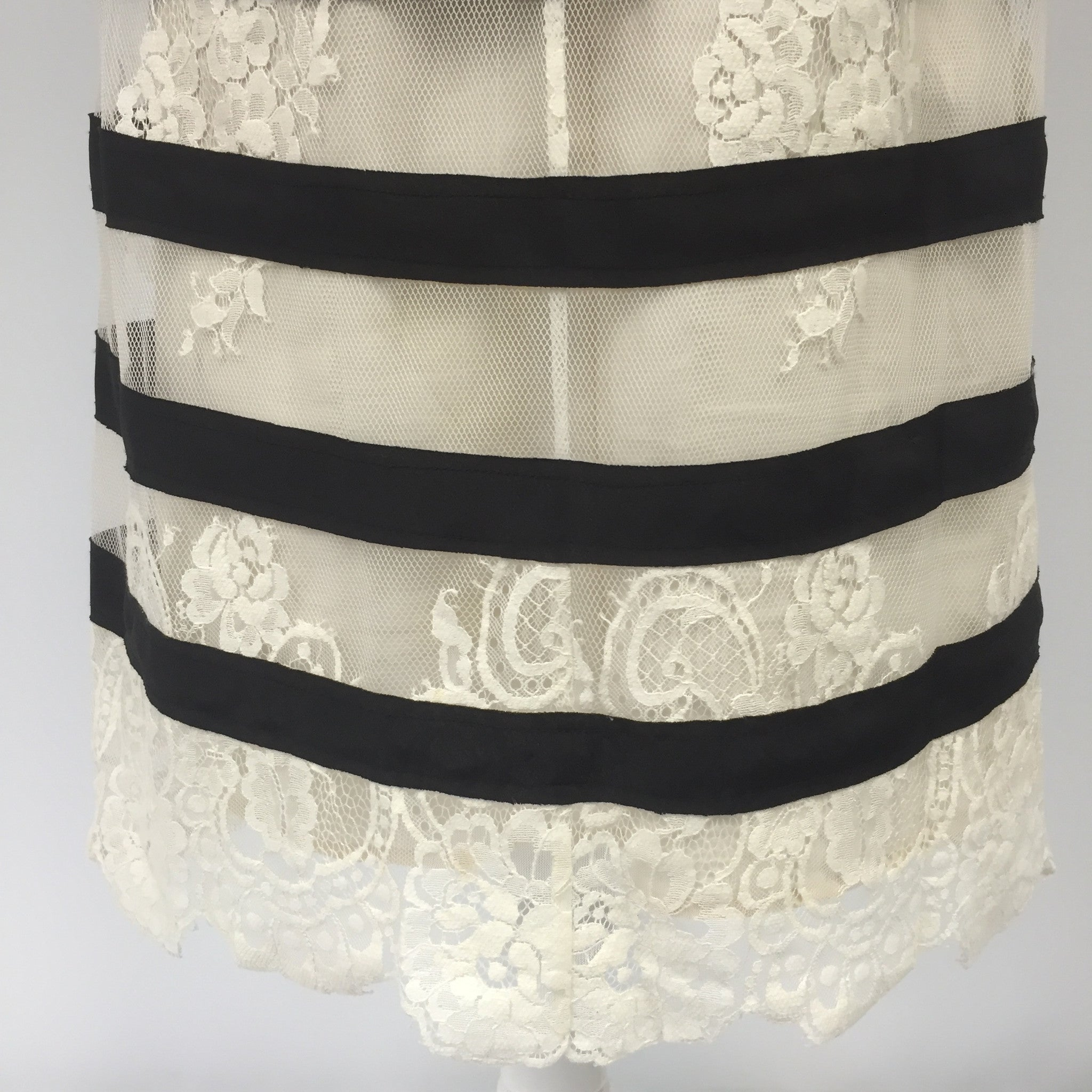 BCBG Black & Cream Striped Lace Dress