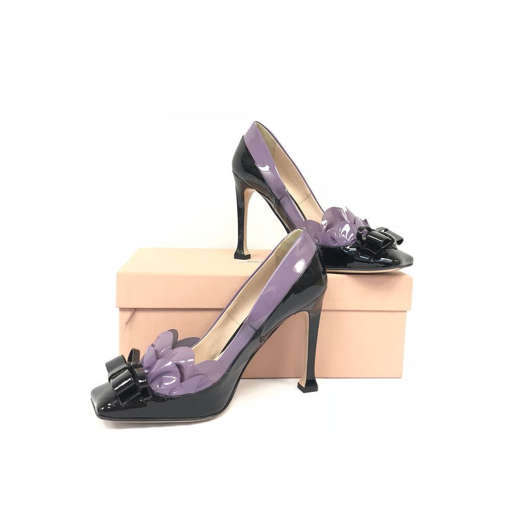 Miu Miu Purple Ribbon Heels
