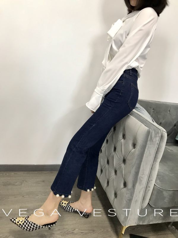 Slim Fit Denim with Pearls