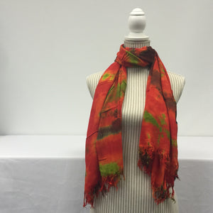 Orange Scarf (Black and Green Patterned)