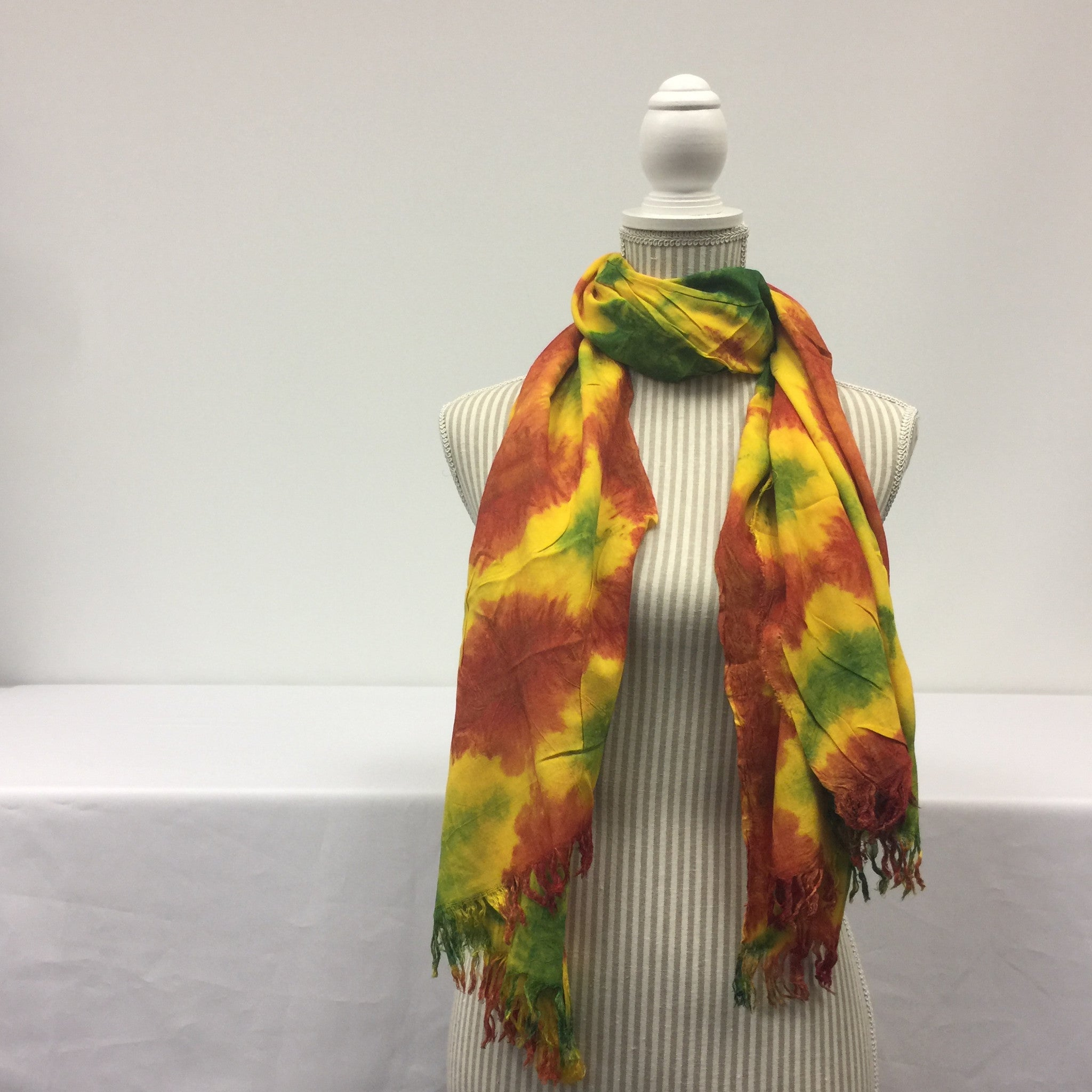 Yellow Scarf (Orange and Green Patterned)