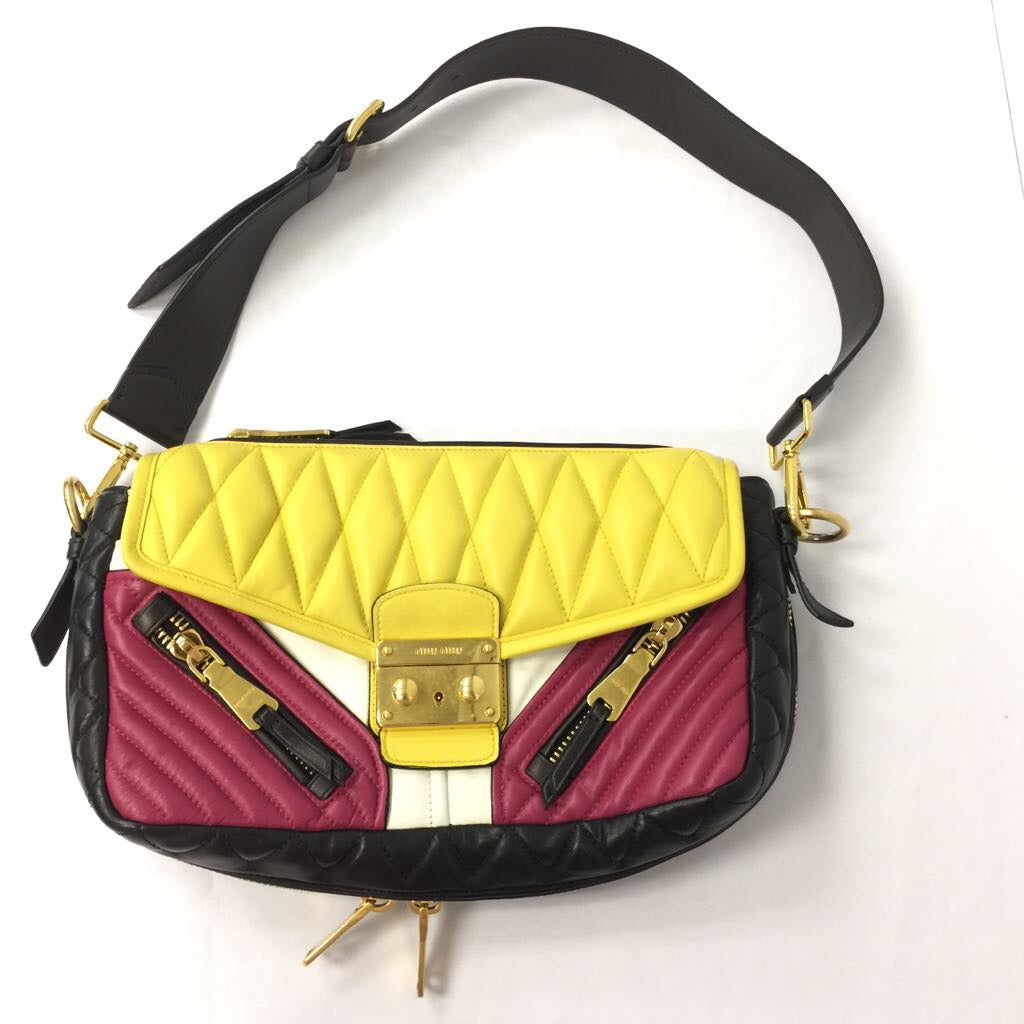 Miu Miu Colorblocked Matelasse Leather Biker Bag