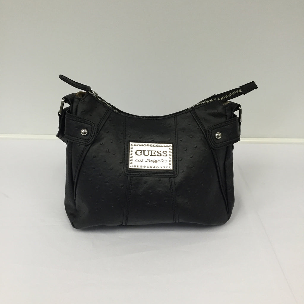 Black Leather Guess Los Angeles Shoulder Bag