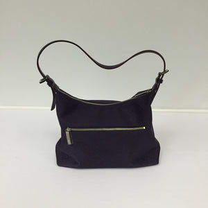 Dark Purple Leather Ruched Bag