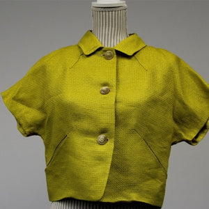 Piazza Sempione Yellow Rayon x Linen Jacket