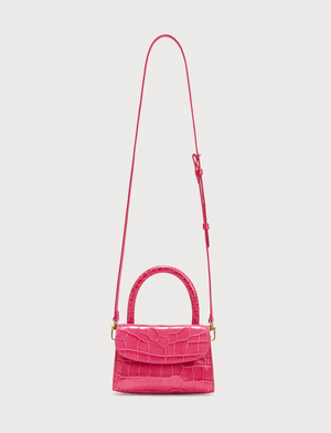 BY FAR - Women's Hot Pink Mini Croc Embossed Leather Bag