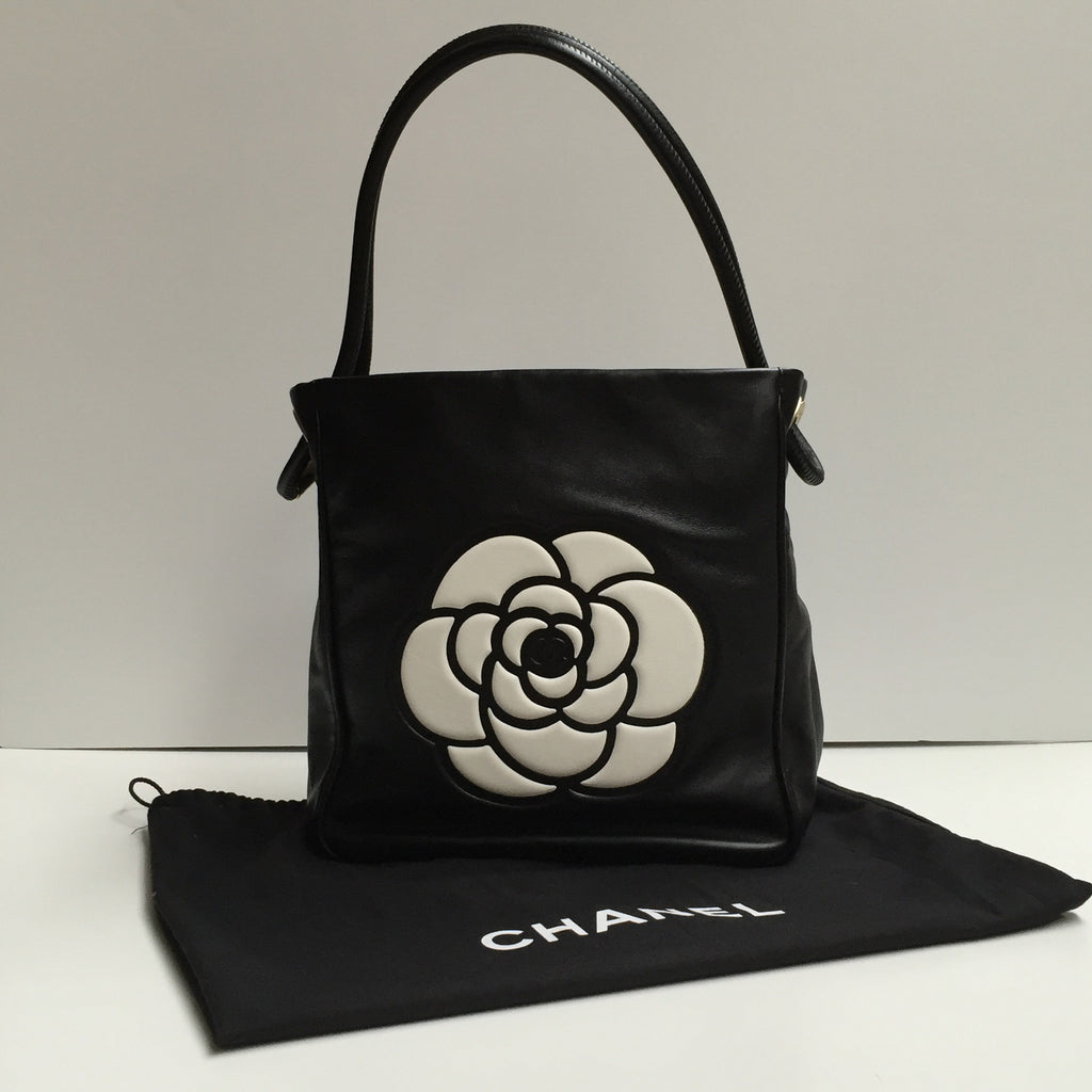Chanel Black Leather Handbag with Camellia