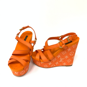 Louis Vuitton Orange And Leather Ocean Criss Cross Wedge Sandals