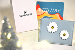 Swarovski Floral Baby Blue Card Holder
