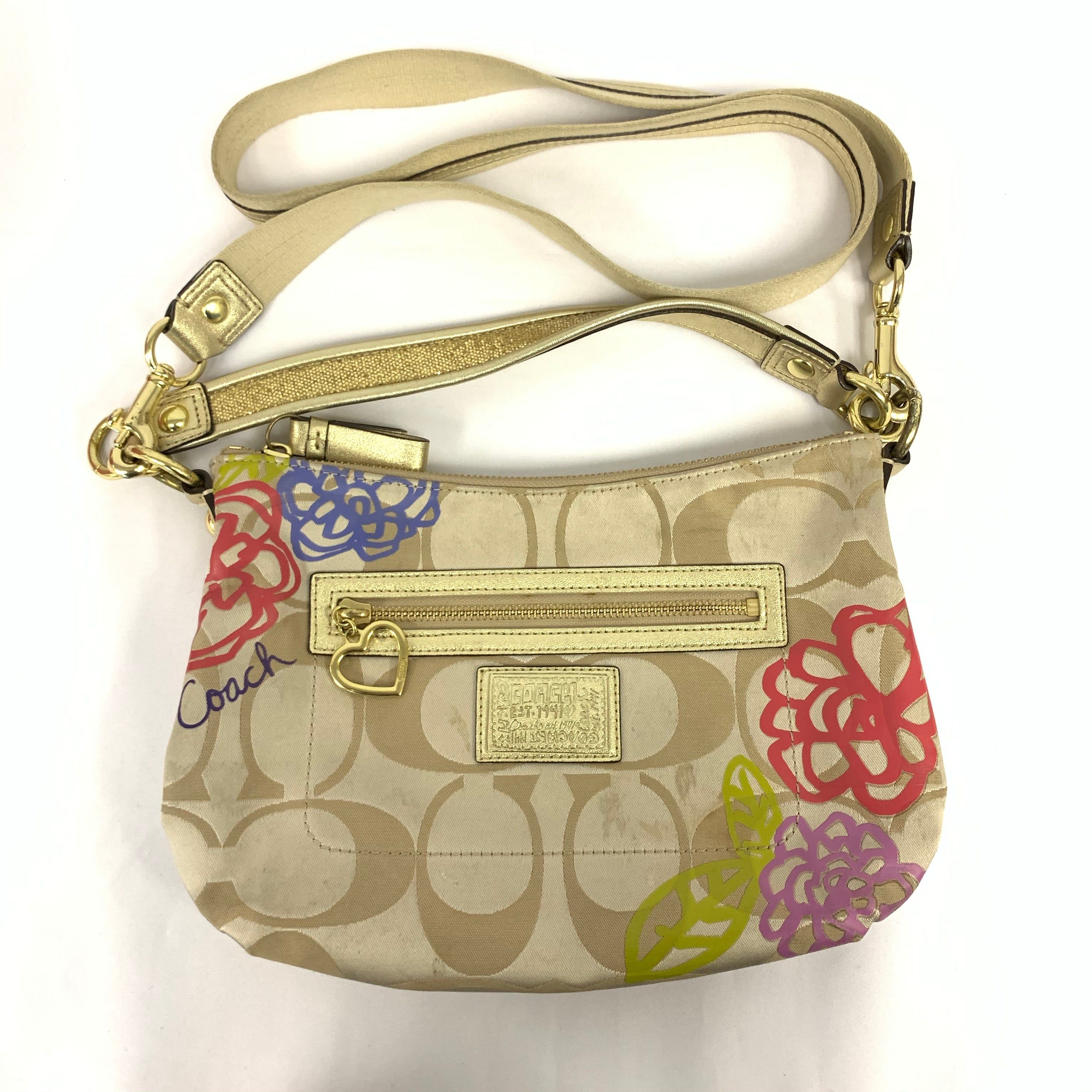 Crossbody Coach Fabric Bag with Flowery Pattern