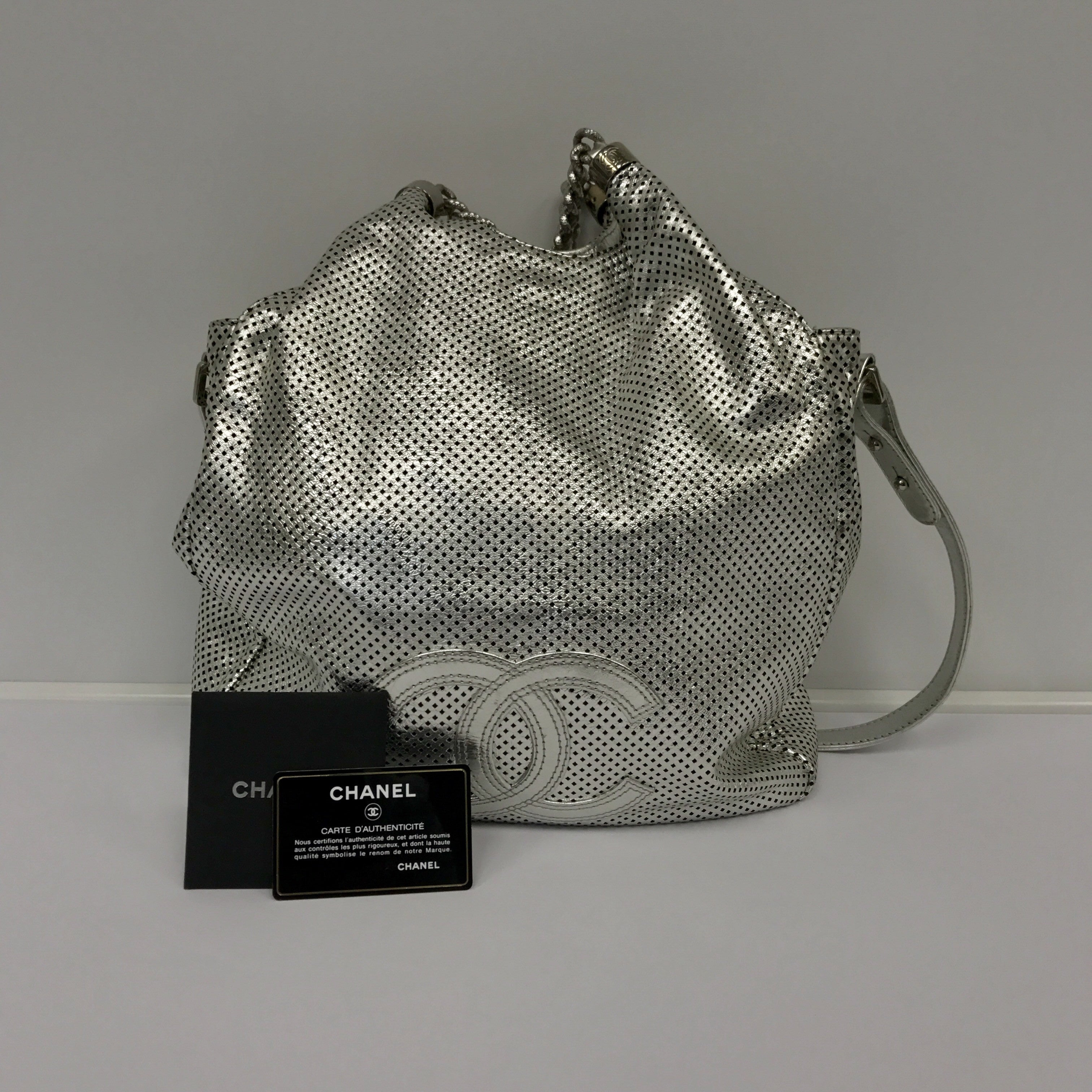 Chanel Perforated Leather Rodeo Drive Silver