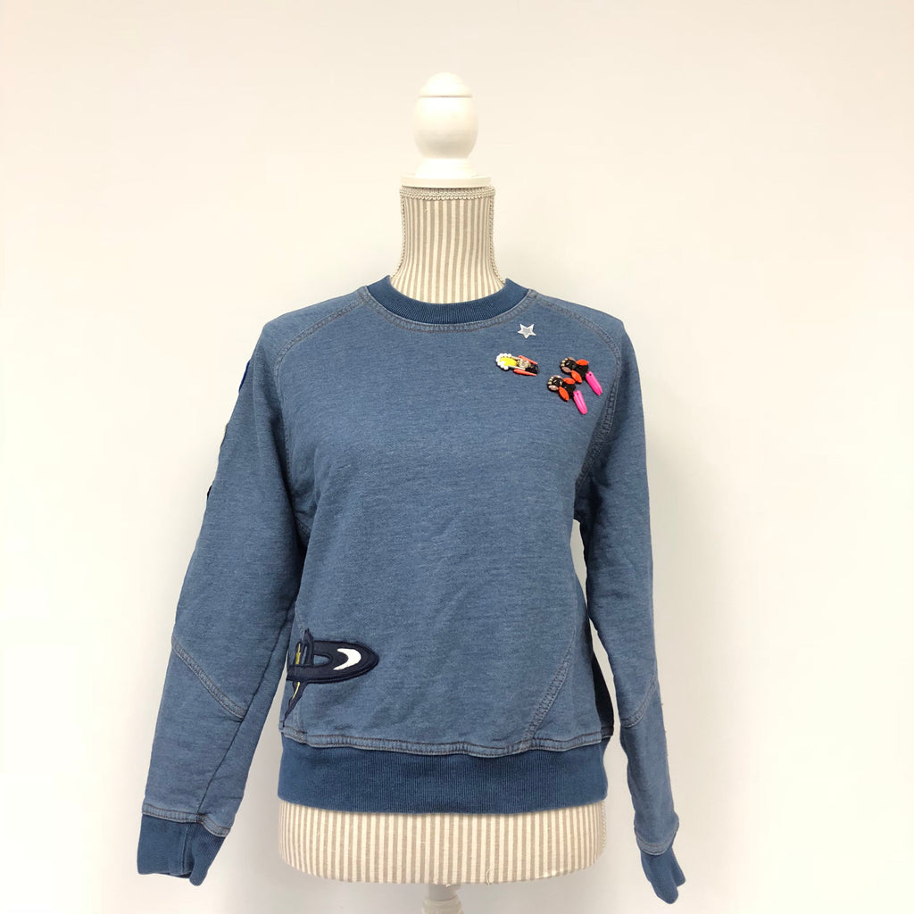 Stella McCartney Blue Beaded Denim Sweatshirt
