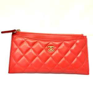 CHANEL 20S Coral Pink Long Zip Wallet Phone Holder O-Case Pouch