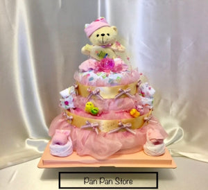 Two Level Baby Girl Diaper Cake- 2