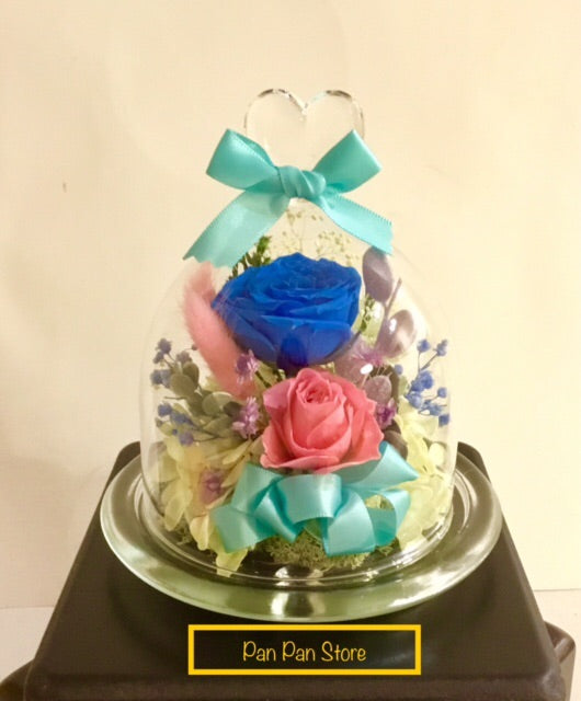 Elegant Preserved Flower with Glass Container