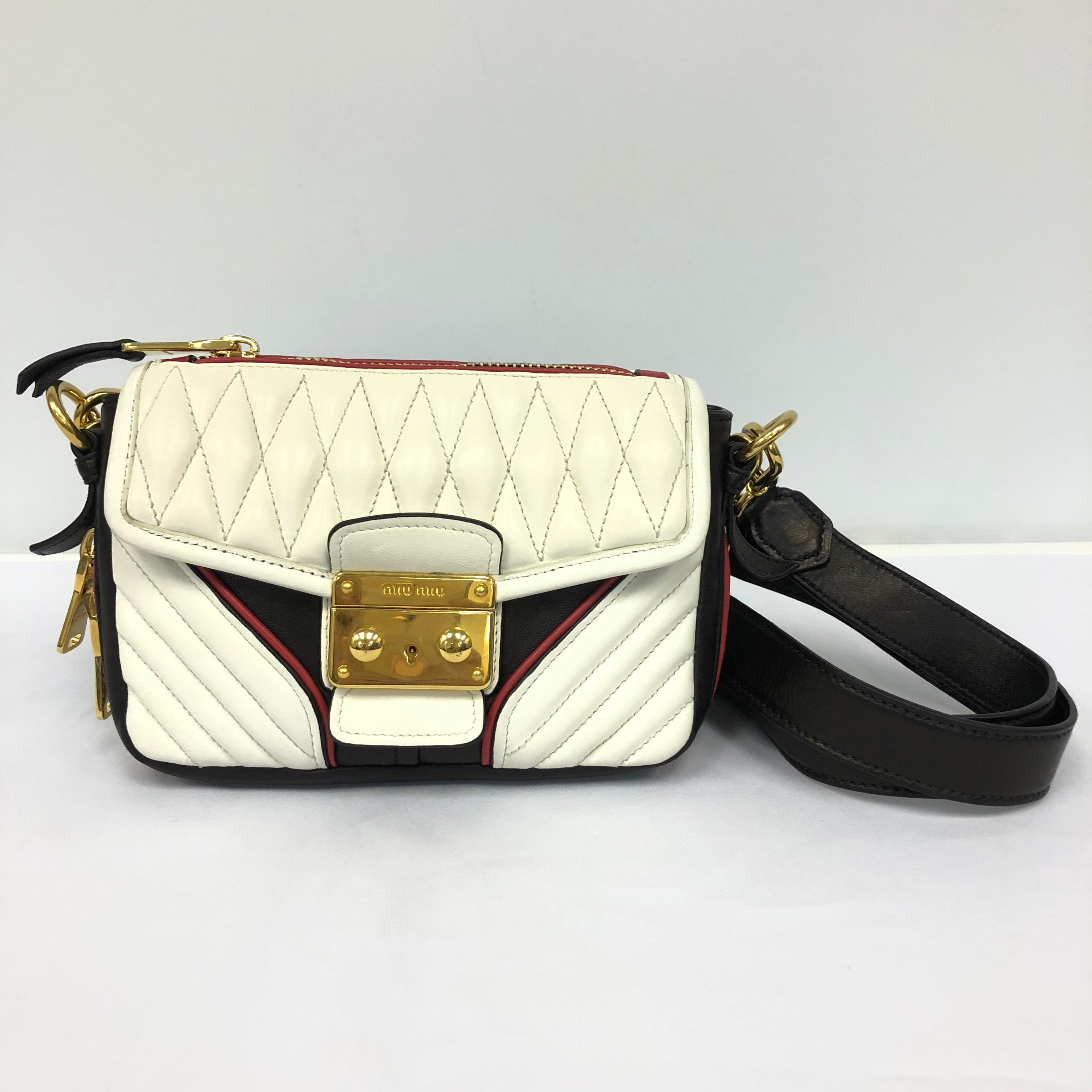 Miu Miu White Colorblocked Matelasse Leather Biker Bag