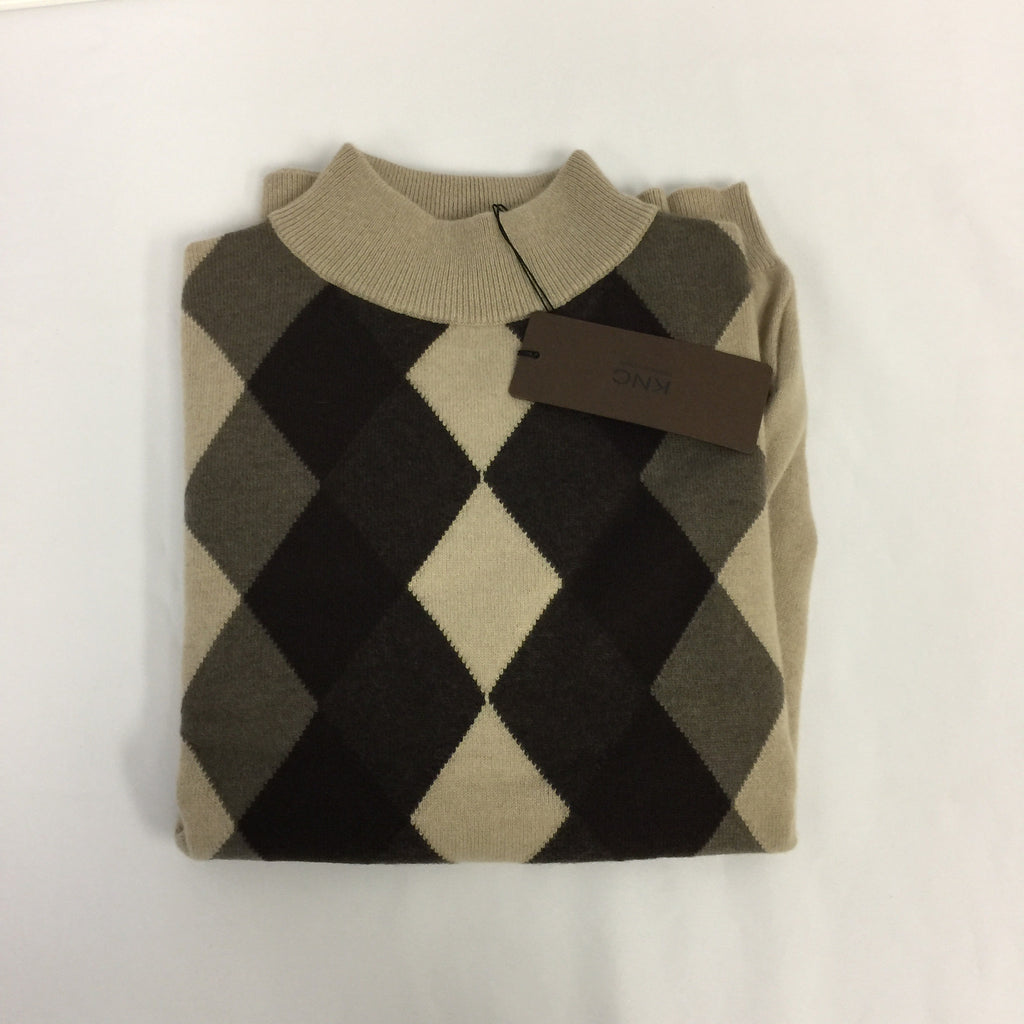 KNC Ladies Argyle Cashmere Brown Long Sleeve