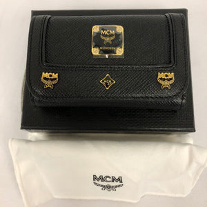MCM Black Leather Key Holder