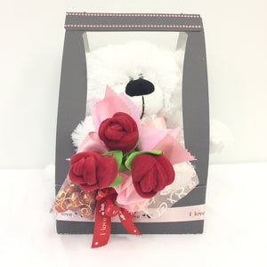 Teddy Bear with Red Roses and Chocolate