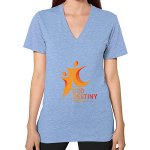 V-Neck (on woman) Tri-Blend Blue - d2ddestiny