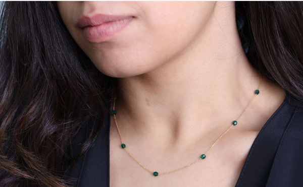 Green 18.Ct Gold Bead Necklace
