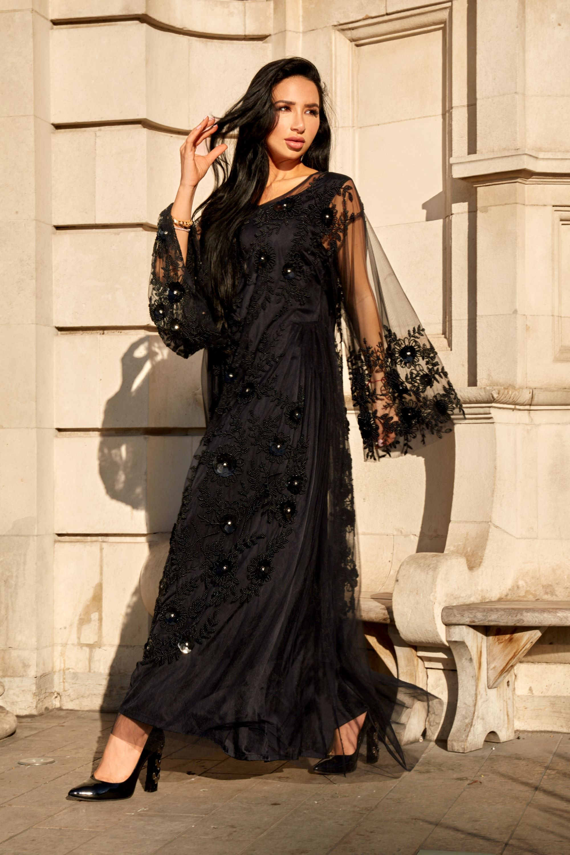 Embroidered Black Darah