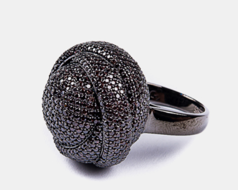 Stylish Black Bead Ring