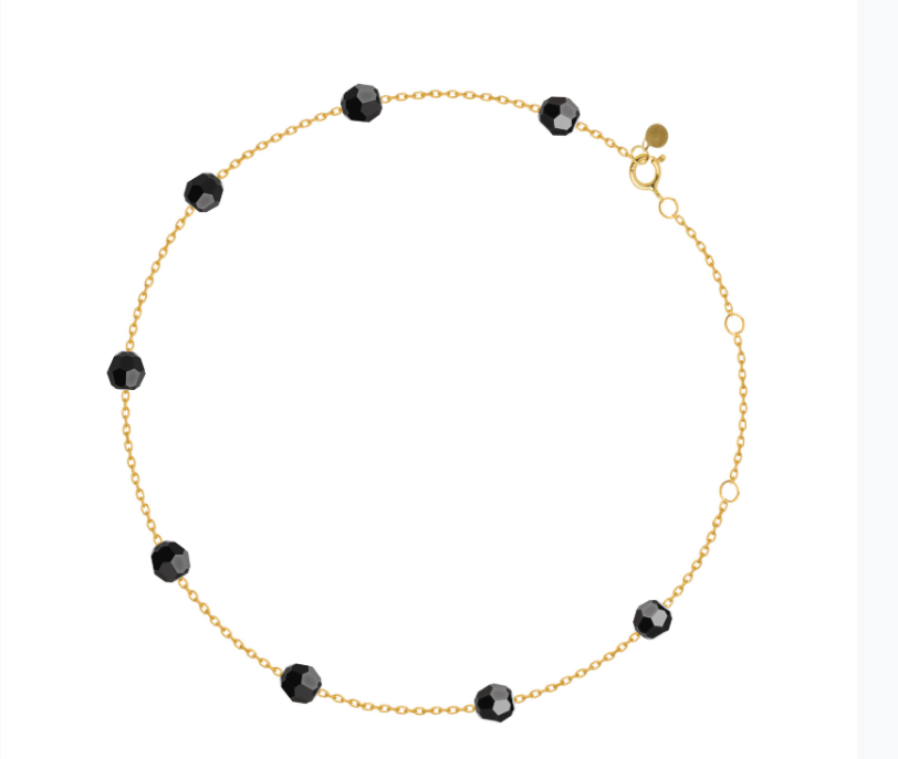 Black 18.Ct Gold Anklet